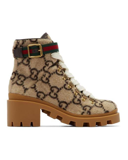 Gucci ベージュ ウール GG アンクル ブーツ Natural