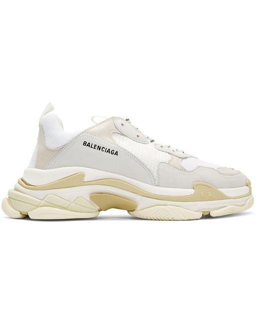 Balenciaga White Triple S Sneakers In Mesh And Leather