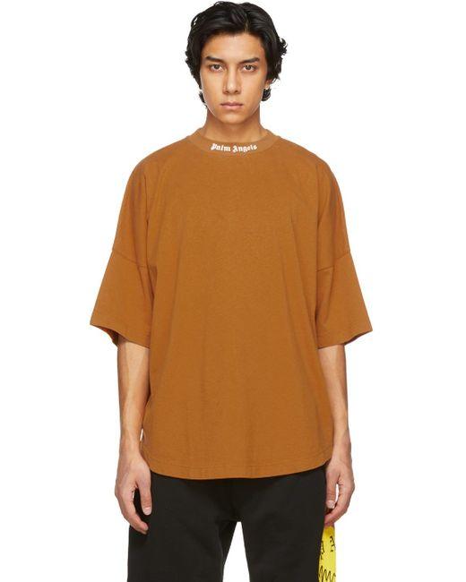 メンズ Palm Angels オレンジ ダブル ロゴ T シャツ Orange