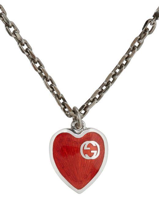 Gucci シルバー & レッド Interlocking G Heart ブレスレット Metallic