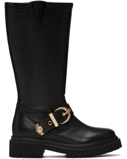 Versace Jeans ブラック Rodeo バックル トール ブーツ Black