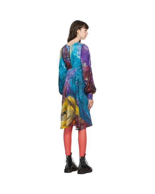 CHARLES JEFFREY LOVERBOY マルチカラー ペインター スモック ドレス Blue