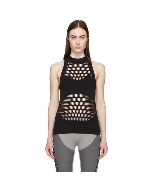 12b179874a Lyst - adidas By Stella McCartney Black Warp Knit Tank Top in Black