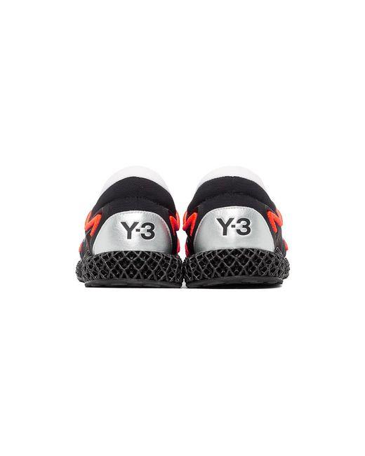 メンズ Y-3 ブラック And オレンジ Runner 4d スニーカー Black