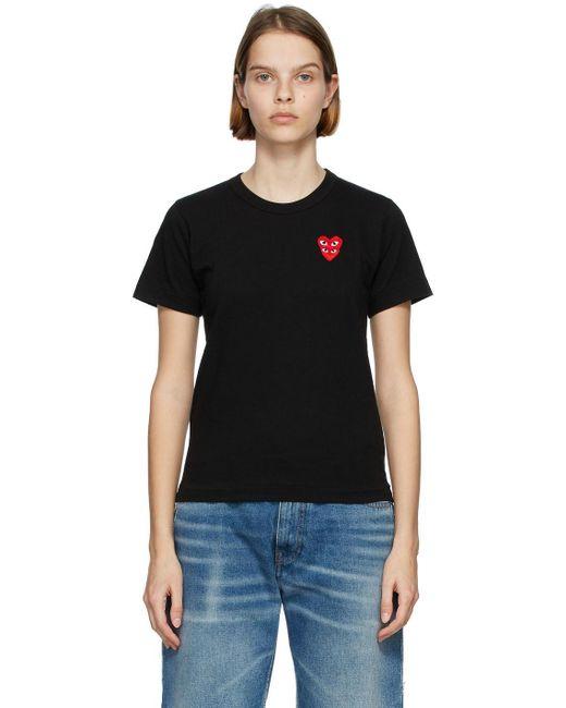 COMME DES GARÇONS PLAY ブラック & レッド Layered Heart T シャツ Black
