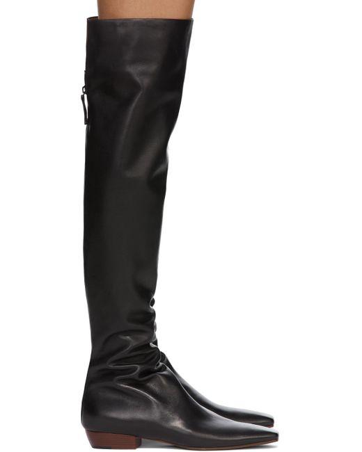 The Row ブラック スラウチ Flat トール ブーツ Black