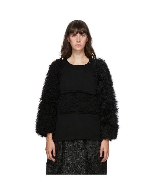 Comme des Garçons ブラック ウール マルチマテリアル セーター Black