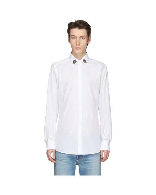 メンズ Dolce & Gabbana ホワイト クラウン カラー シャツ White
