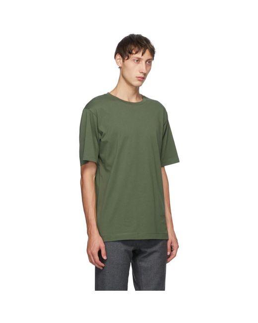 メンズ Dries Van Noten グリーン ラウンド カラー T シャツ Green