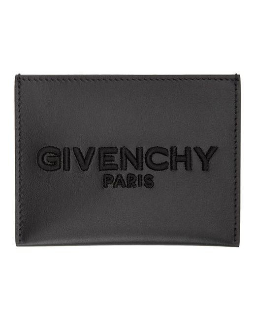 メンズ Givenchy ブラック エンブロイダリー ロゴ カード ホルダー Black