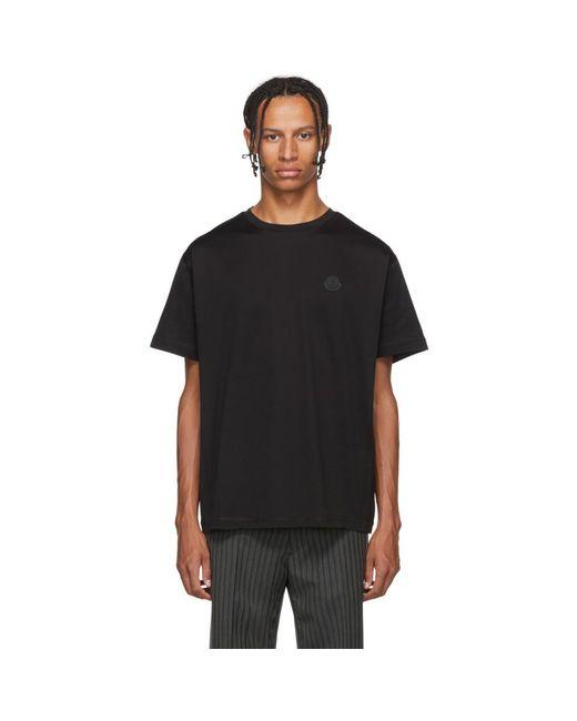 メンズ Moncler ブラック ロゴ T シャツ Black