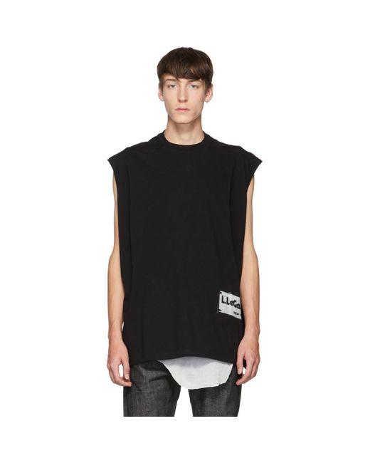 メンズ Rick Owens ブラック Tarp スリーブレス T シャツ Black