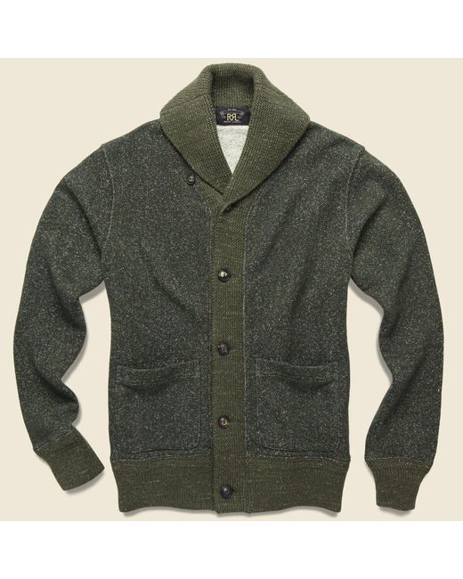 RRL - Green Donegal Shawl Collar Sweater - Olive for Men - Lyst