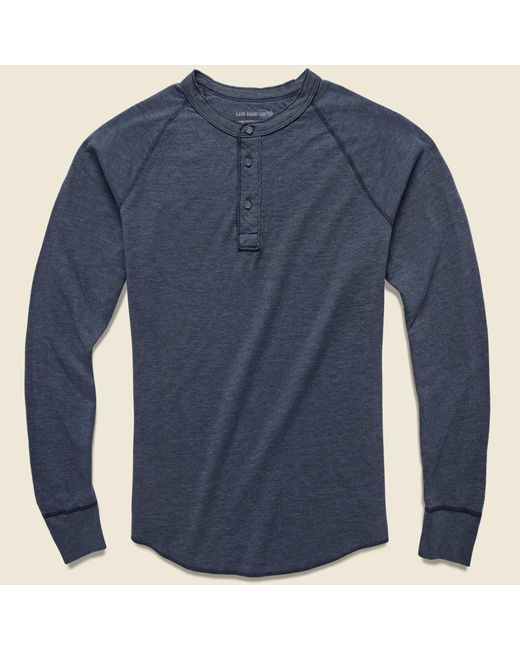 Save Khaki - Blue Pointelle Henley - Navy for Men - Lyst