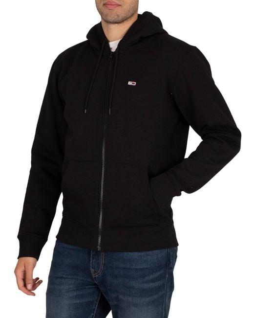 Tommy Hilfiger Black Regular Fleece Zip Hoodie for men