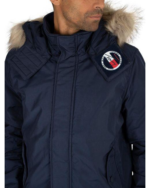 Blue Tommy Jeans Men/'s Tech Parka Jacket