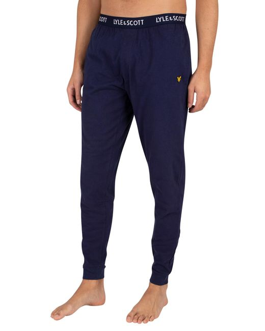 Lyle & Scott Blue Ezra Pyjama Bottoms for men