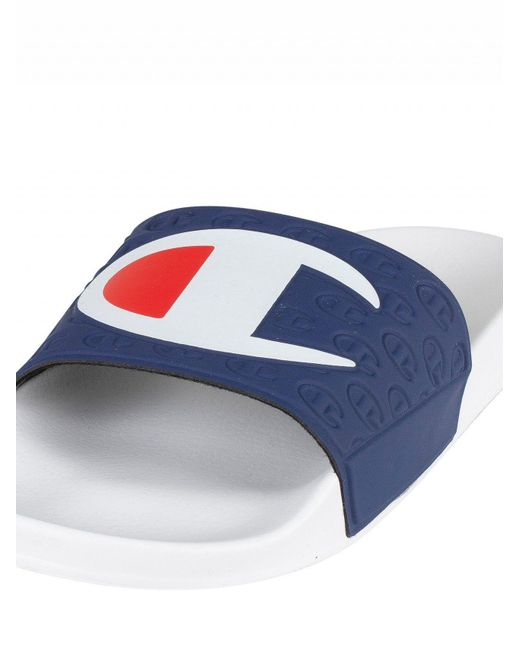 358485263f48 ... Champion - White navy Logo Sliders for Men - Lyst ...