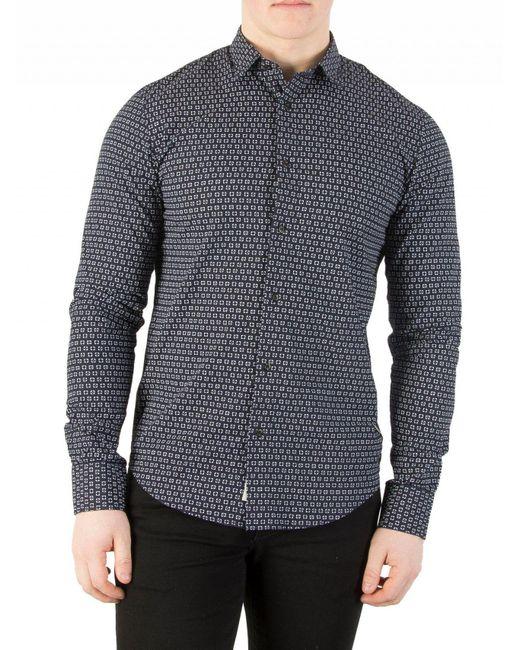 Scotch & Soda - Blue Navy Longsleeved Pattern Shirt for Men - Lyst