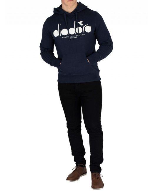 a5588b744f Diadora Cotton Men's Graphic Pullover Hoodie, Blue Men's Sweater In ...