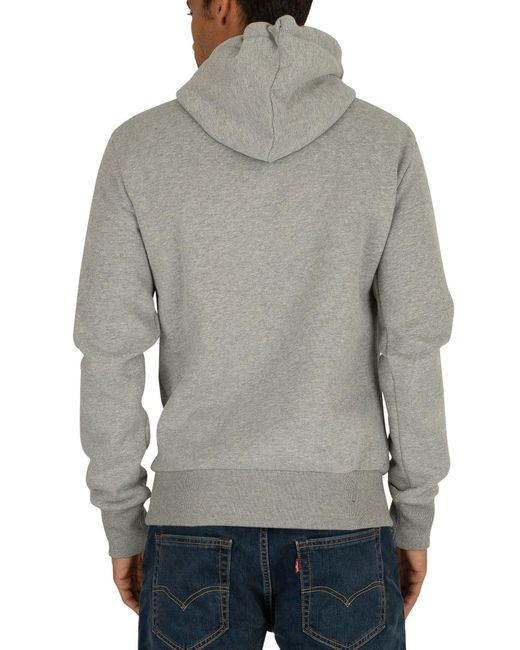 Superdry Mens Vintage Downhill Racer Applique Grey Marl Hoodie World Shipping