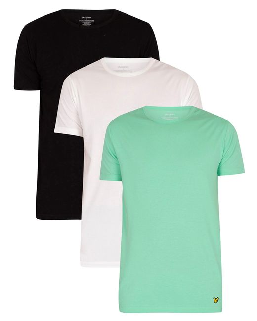 Lyle & Scott Green Maxwell Lounge 3 Pack Crew T-shirts for men