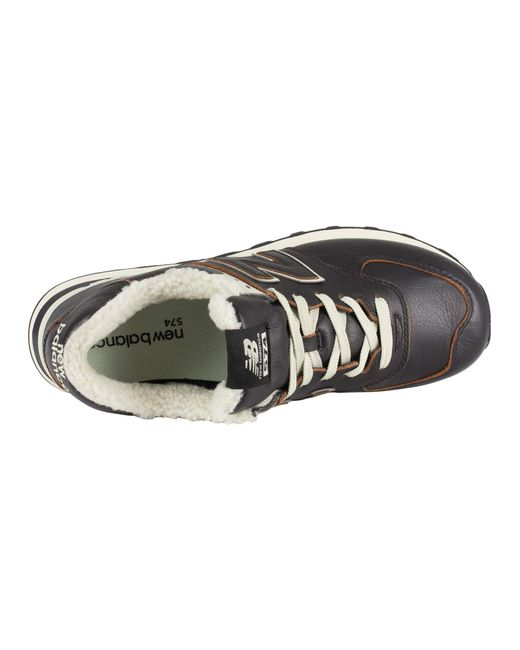 New Balance Men/'s 574 Leather Trainers Black