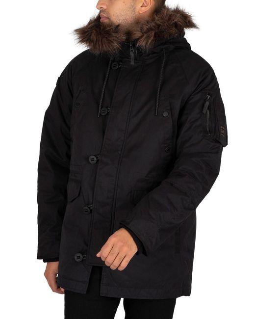 Superdry Black Sdx Parka Jacket for men