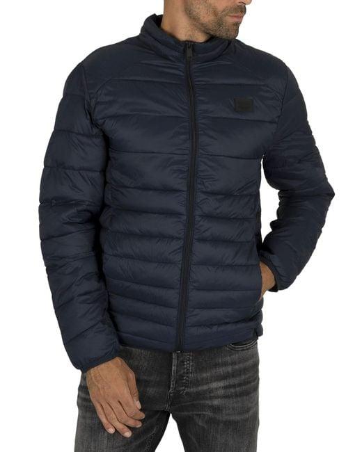 Jack & Jones Blue Bomb Collar Puffer Jacket for men