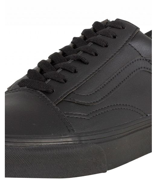 bc79e0f7b8 ... Vans - Black Old Skool Leather Trainers for Men - Lyst ...