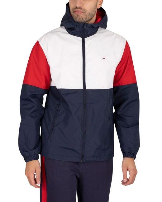 Tommy Hilfiger White Nylon Colourblock Windbreaker Jacket for men