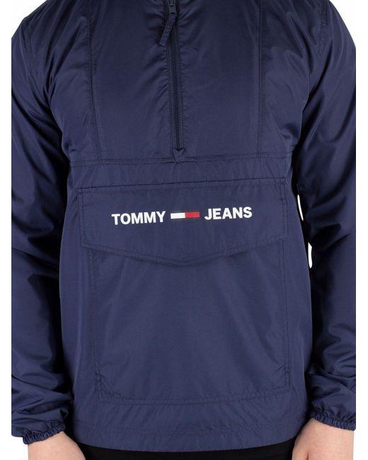 49f34fa47 ... Tommy Hilfiger - Black Iris Navy Nylon Shell Solid Popover Jacket for  Men - Lyst ...