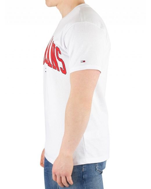 4726d1bb3 ... Tommy Hilfiger - Classic White Collegiate Logo T-shirt for Men - Lyst  ...