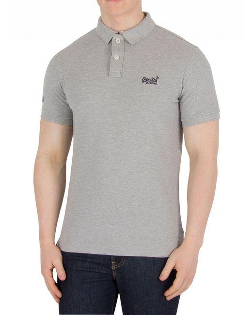 a4ef45041 Superdry - Gray Grey Marl Classic Pique Logo Polo Shirt for Men - Lyst ...