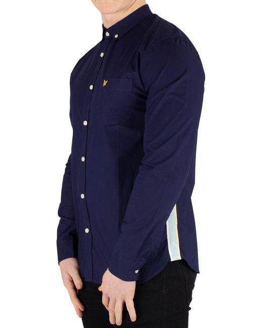 Lyle & Scott Blue Side Stripe Shirt for men