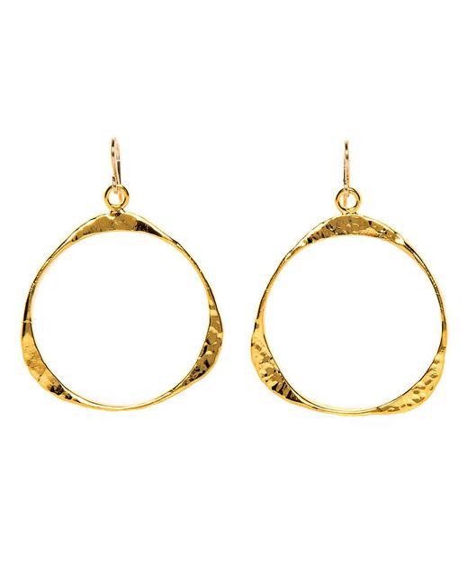 Devon Leigh | Metallic Hammered Gold Triangle Drop Hoop Earrings | Lyst