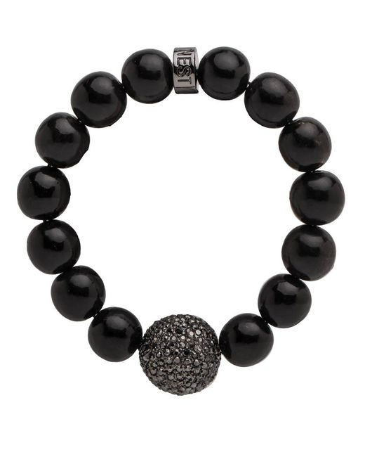 Nest   Black Horn Stretch Bracelet With Pave Accent Bead   Lyst