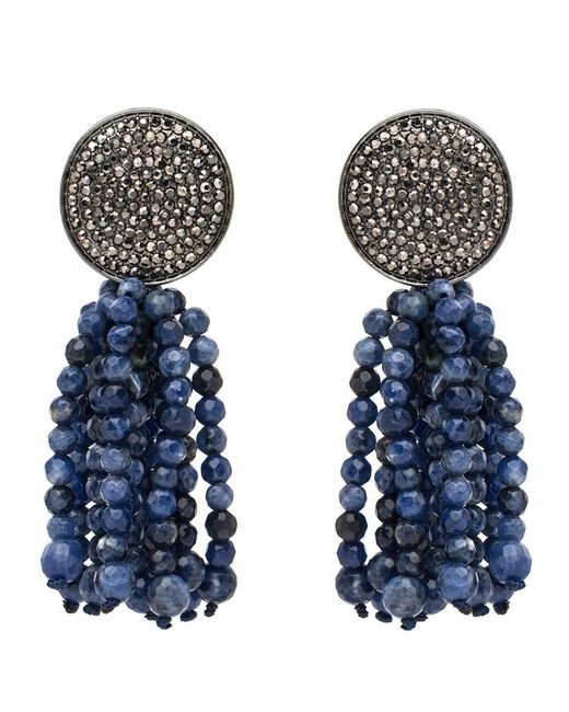 Nest | Blue Pave Disk And Sodalite Tassel Clip On Earrings | Lyst