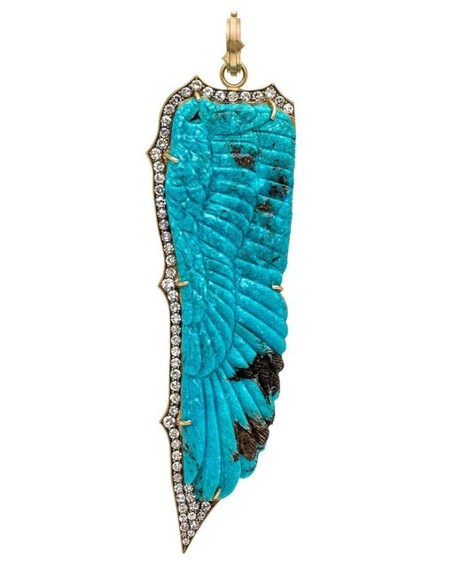 Sylva & Cie   Blue Carved Turquoise And Diamond Feather Pendant   Lyst
