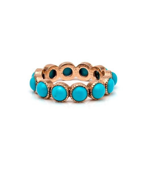 Sylva & Cie   Blue Rose Gold Turquoise Band Ring   Lyst