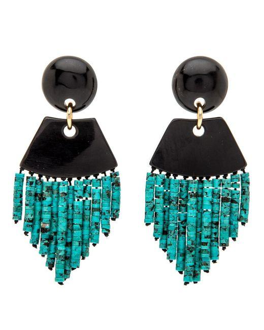 Nest | Black Horn Turquoise Fringe Earrings | Lyst
