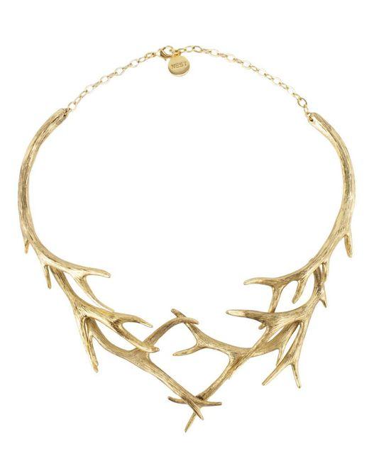 Nest | Metallic Gold Antler Collar Necklace | Lyst