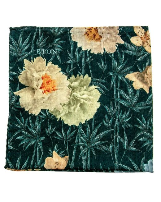 Eton of Sweden - Green Floral Pocket Square - Lyst