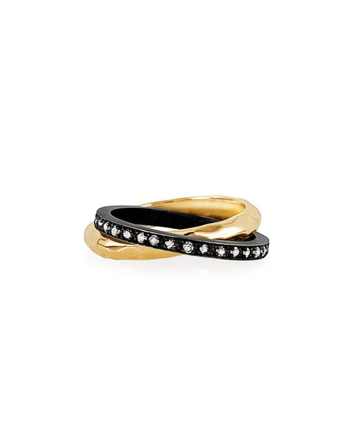 Nancy Newberg - Metallic Hammered Band Linked With Silver Diamond Band - Lyst
