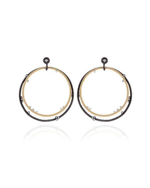 Nancy Newberg - Metallic Gold And Oxidized Silver Double Hoop Earrings - Lyst