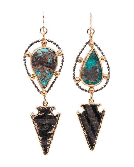 Devon Leigh | Multicolor Mixed Metal Turquoise Arrowhead Drop Earrings | Lyst