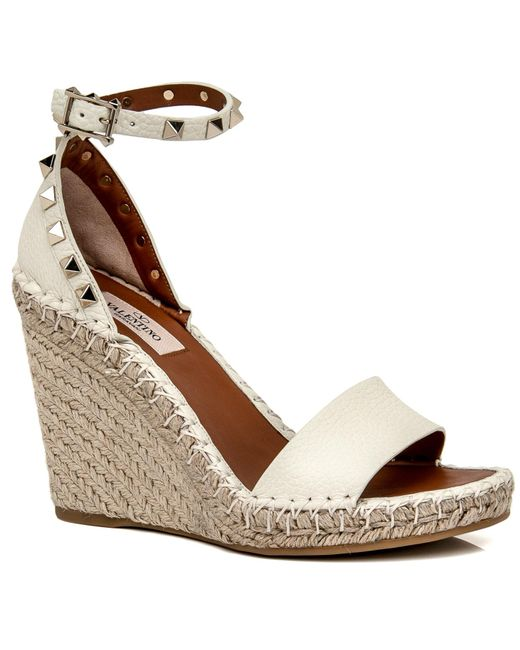 d5cf4c490e6 ... Valentino - White Light Ivory Rockstud Double Wedge Espadrille - Lyst  ...
