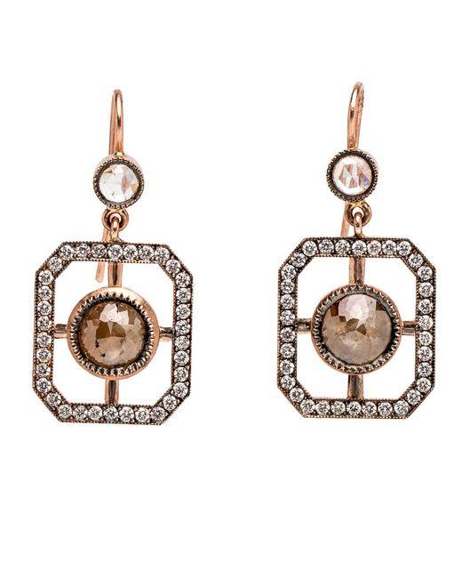 Sylva & Cie - Multicolor Rough Cut Diamond Window Earrings - Lyst
