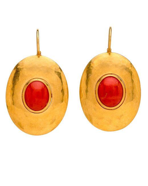 Darlene De Sedle | Metallic Gold Disc Earrings With Cabochon Garnet | Lyst