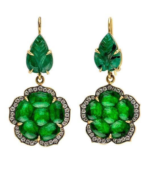 Sylva & Cie - Green Emerald And Jade Leaf Earrings - Lyst
